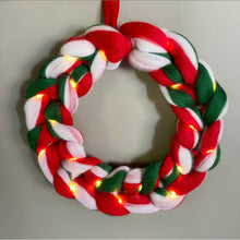 Load image into Gallery viewer, Candy Cane Christmas Wreath - No Needles Needed Chunky Knits