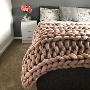 Extra Large Merino Wool Blanket - Classic Colours - Double Rib - No Needles Needed Chunky Knits