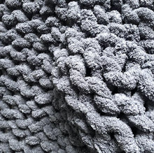 "Chenille Chunky Knit Blanket - 30"" x 60"" - Stockinette - No Needles Needed Chunky Knits"