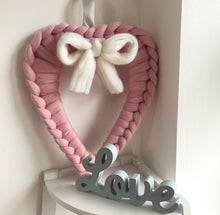 Load image into Gallery viewer, Merino Chunky Knit Heart Bow Wreath - No Needles Needed Chunky Knits