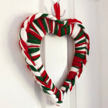Load image into Gallery viewer, Merino Chunky Knit Heart Wreath - Candy Cane - No Needles Needed Chunky Knits