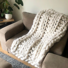 Medium Merino Wool Blanket - Classic Colours - Double Rib - No Needles Needed Chunky Knits