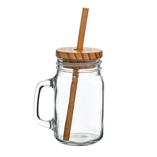Glass Mason Jar with Bamboo Straw - No Needles Needed Chunky Knits