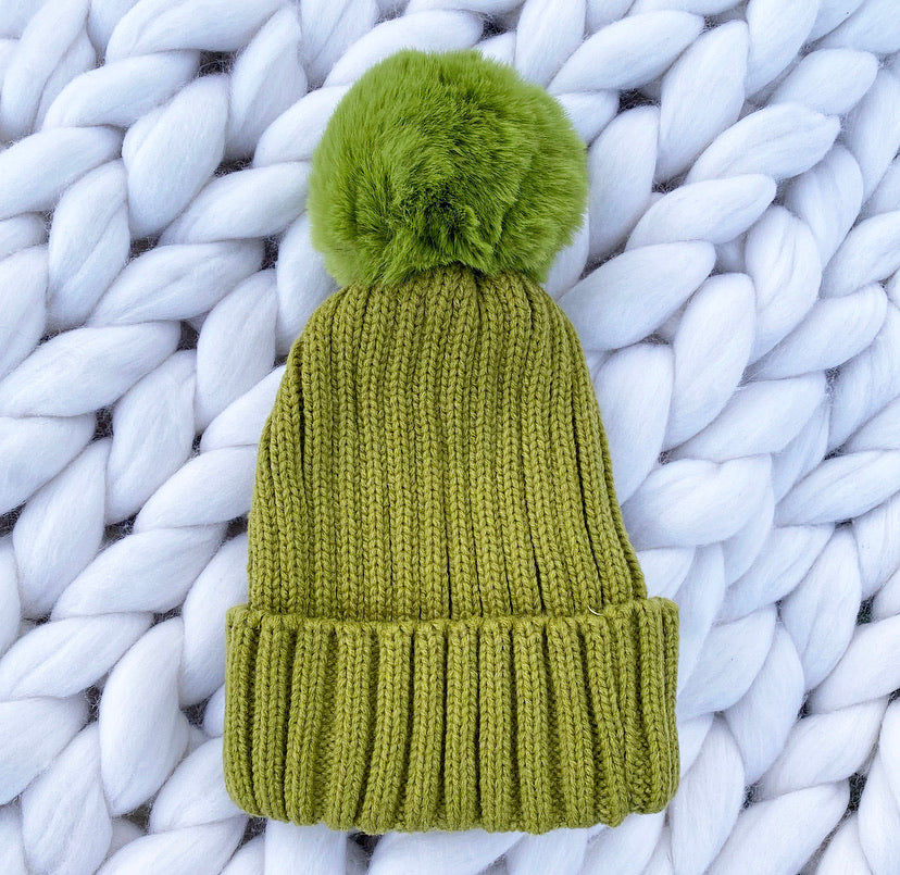 Plain Beanie Hat - Olive - No Needles Needed Chunky Knits