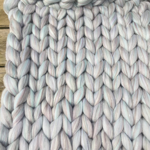 Small Merino Wool Blanket - Fairytale Blends - Stockinette - No Needles Needed Chunky Knits