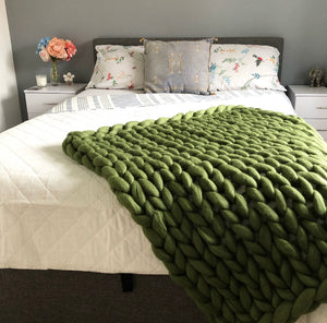 Small Merino Wool Blanket - Classic Colours - Stockinette - No Needles Needed Chunky Knits
