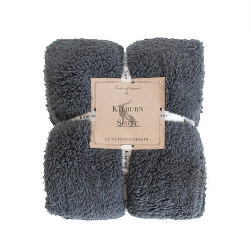 Teddy Fleece Throw - Charcoal - No Needles Needed Chunky Knits
