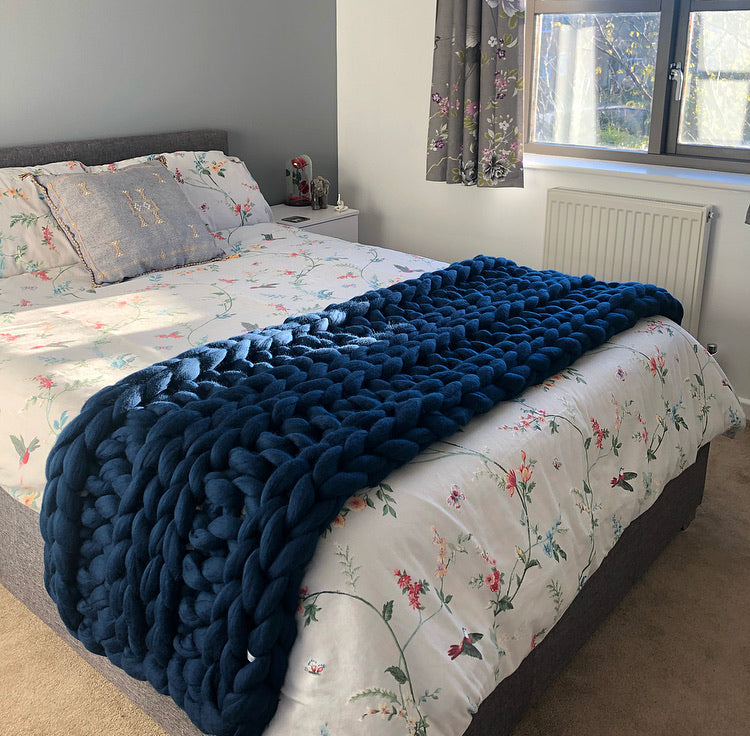 Super King Merino Bed Runner - Classic Colours - Double Rib - No Needles Needed Chunky Knits