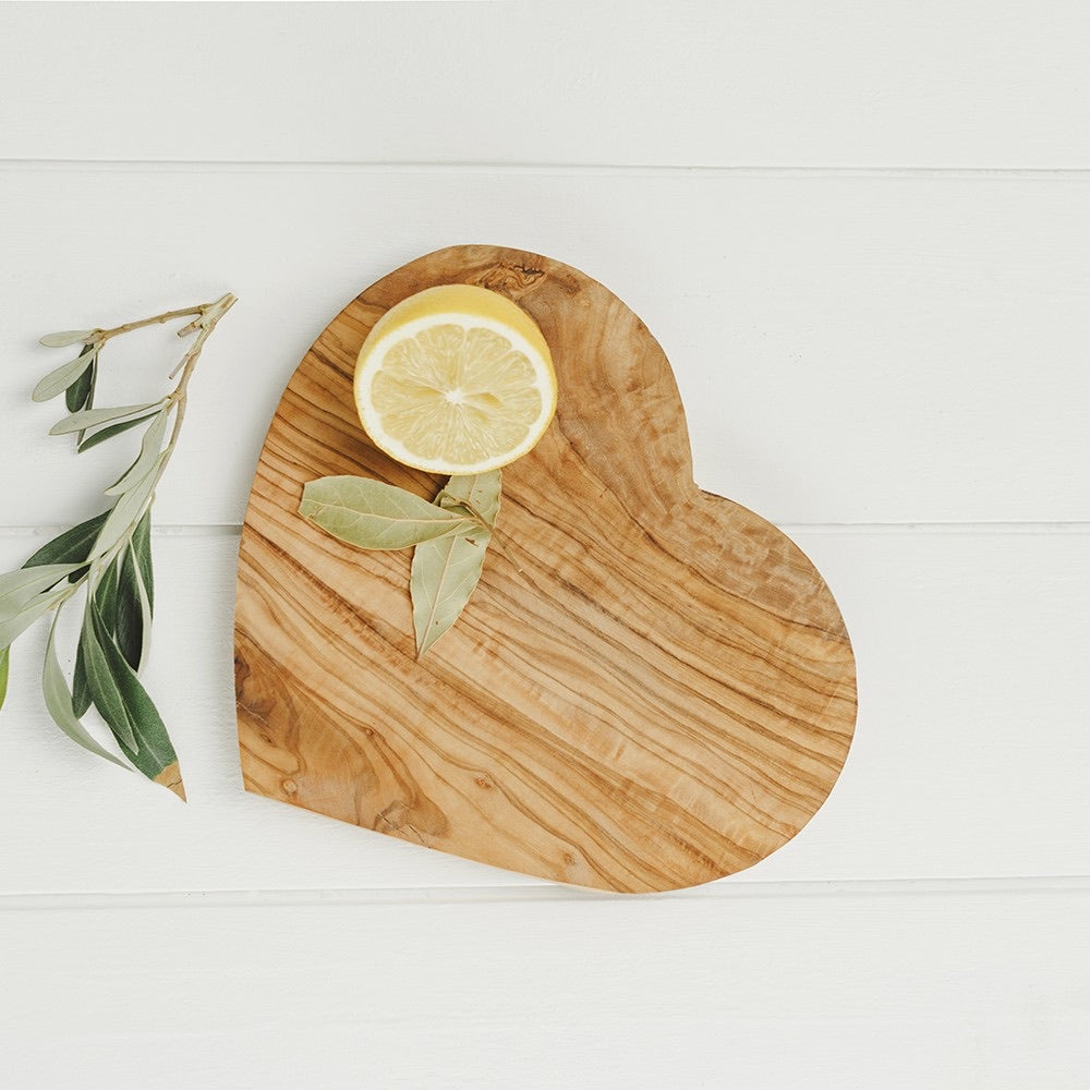 Heart Shaped Olive Wood Board - No Needles Needed Chunky Knits