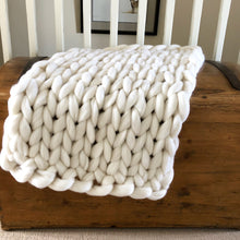 Load image into Gallery viewer, Baby Merino Wool Blanket - Classic Colours - Stockinette - No Needles Needed Chunky Knits
