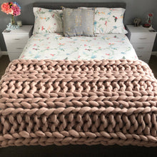 Load image into Gallery viewer, Large Merino Wool Blanket - Classic Colours - Double Rib - No Needles Needed Chunky Knits