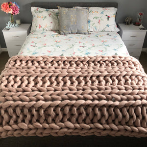 Large Merino Wool Blanket - Classic Colours - Double Rib - No Needles Needed Chunky Knits