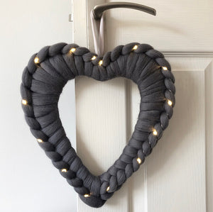 Light Up Chunky Knit Heart Wreath - No Needles Needed Chunky Knits