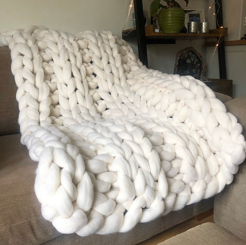 Small Merino Wool Blanket - Classic Colours - Double Rib - No Needles Needed Chunky Knits