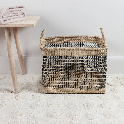 Open Weave Seagrass Basket - No Needles Needed Chunky Knits