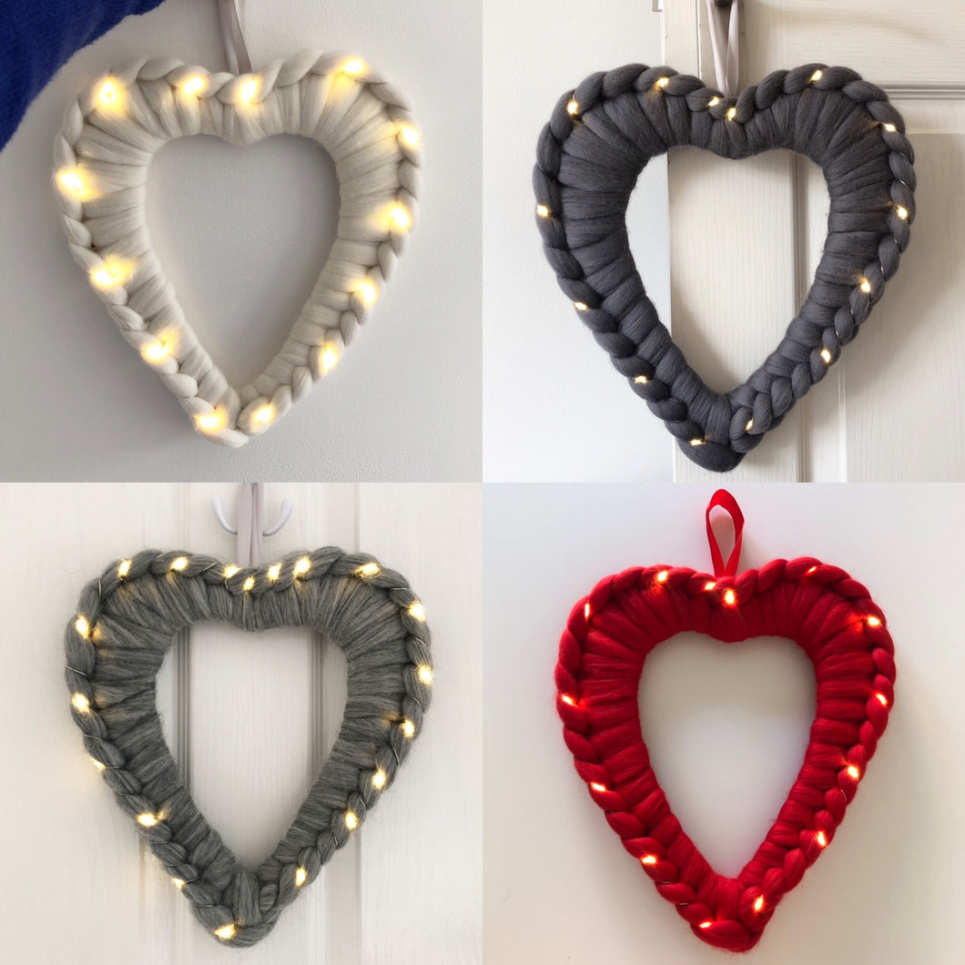 Light Up Chunky Knit Heart Wreath - Classic Colours - No Needles Needed Chunky Knits