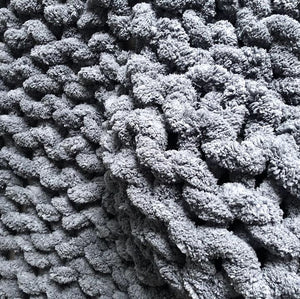 "Chenille Chunky Knit Blanket - 30"" x 70"" - Stockinette - No Needles Needed Chunky Knits"