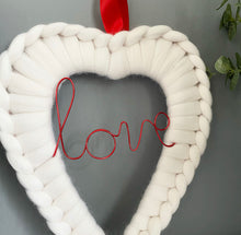 Load image into Gallery viewer, Love Wire Word Merino Heart Wreath - No Needles Needed Chunky Knits