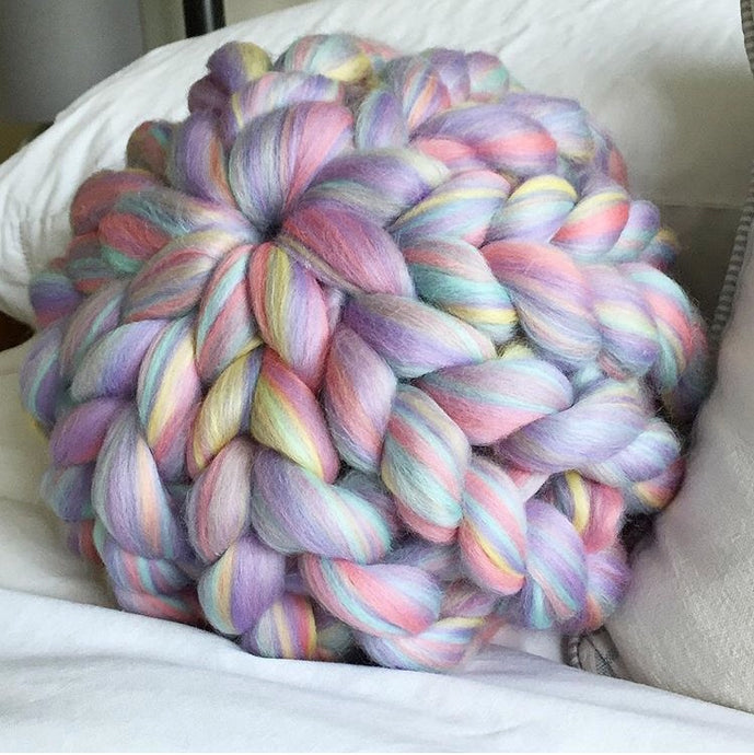 Single Merino Cushion - Colour Pop Blends - No Needles Needed Chunky Knits