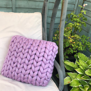 Single Square Merino Cushion - Classic Colours - No Needles Needed Chunky Knits
