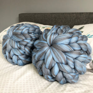 Set of 2 Merino Cushions - NNN Blends - No Needles Needed Chunky Knits