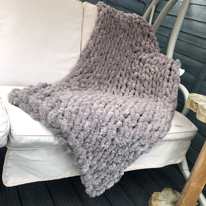 "Chenille Chunky Knit Blanket - 30"" x 50"" - Stockinette - No Needles Needed Chunky Knits"
