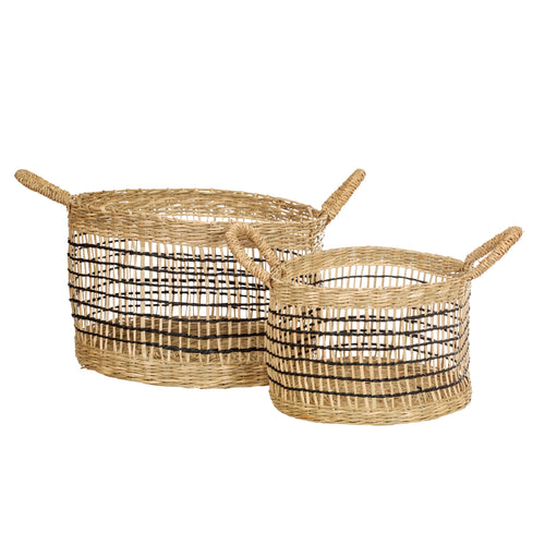 Round Seagrass Baskets - Set of 2 - No Needles Needed Chunky Knits