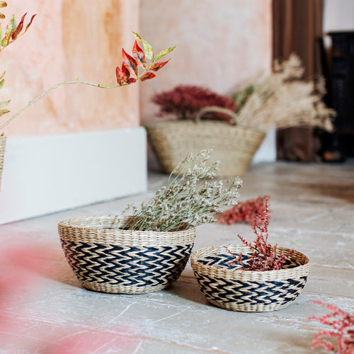 Seagrass Chevron Basket Set - No Needles Needed Chunky Knits