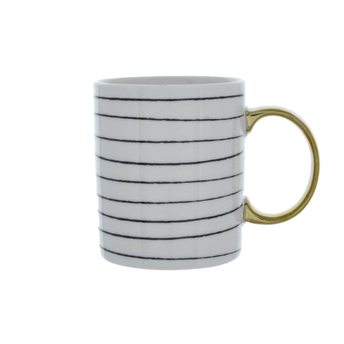 Gold Handle Stripe Mug - No Needles Needed Chunky Knits