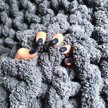 "Load image into Gallery viewer, Chenille Chunky Knit Blanket - 30"" x 50"" - Stockinette - No Needles Needed Chunky Knits"