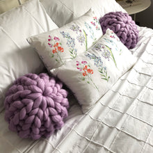 Load image into Gallery viewer, Set of 2 Merino Cushions - Classic Colours - No Needles Needed Chunky Knits