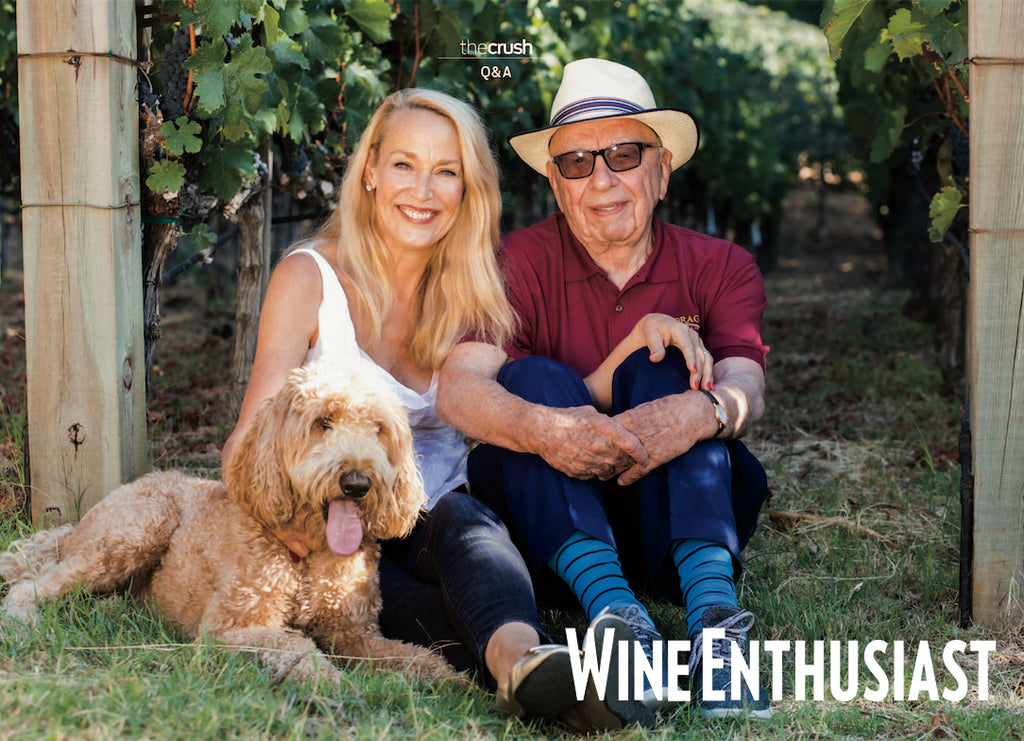 Wine Enthusiast: LIQUID ASSETS Jerry Hall and Rupert Murdoch check in with rare insights on their estate vineyard.