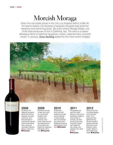 JAMES SUCKLING: VERTICAL TASTING OF MORAGA ESTATE'S FIVE RECENT VINTAGES