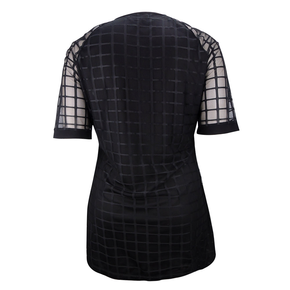 Women Plus Size Dress Black Mesh Mini Dress