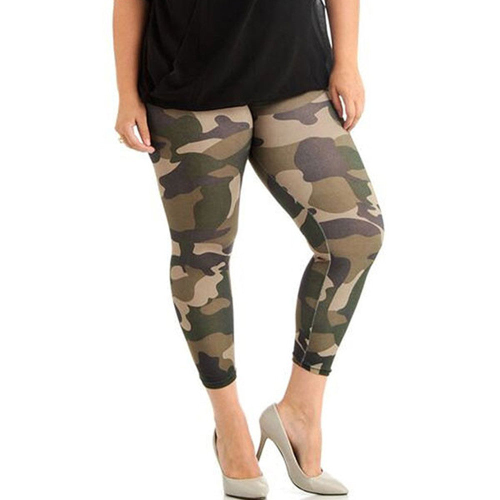 Women Plus Size Elastic Leggings, Camouflage For Women