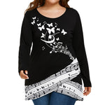 Plus Size Women Butterfly Musical Note Blouse