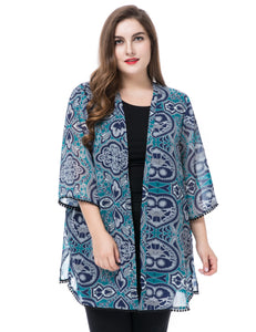 Women's Plus Size Floral Printed Chiffon Cardigan