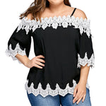 Plus Size Women Lace Off Shoulder Blouse