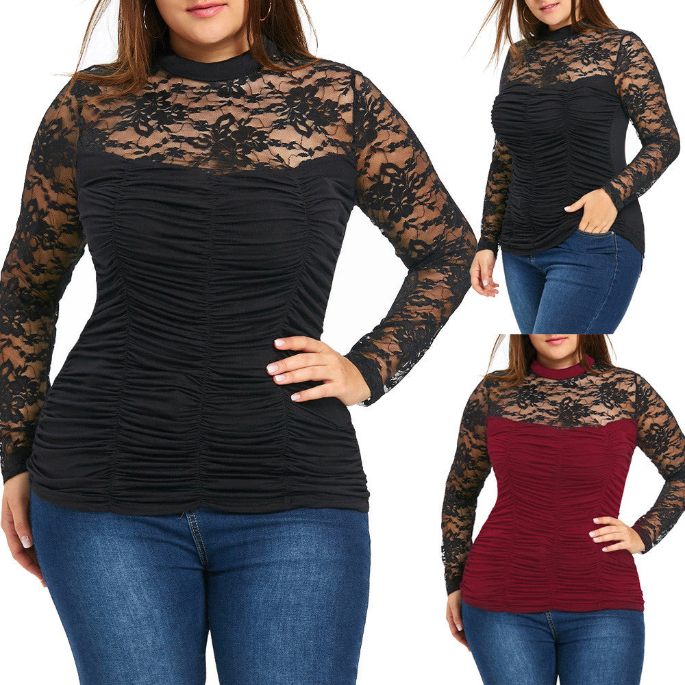 Plus Size Women Lace Blouse