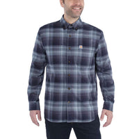 HAMILTON PLAID LONG-SLEEVE FLANNEL SHIRT Navy