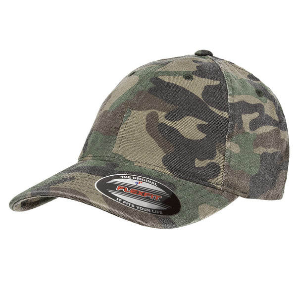 FLEXFIT® GARMENT WASHED CAMO CAP