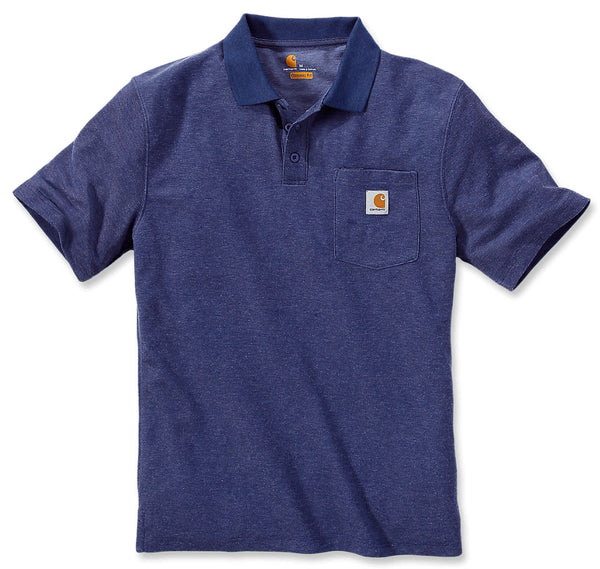 CONTRACTOR'S WORK POCKET POLO Dark Cobalt Blue Heather