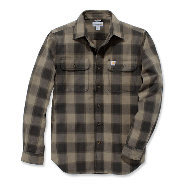 HUBBARD SLIM-FIT FLANNEL SHIRT Burnt Olive