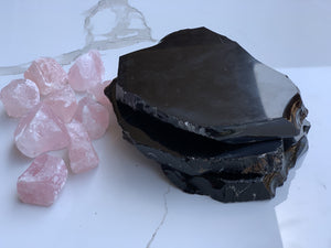 Black Obsidian Crystal Slab