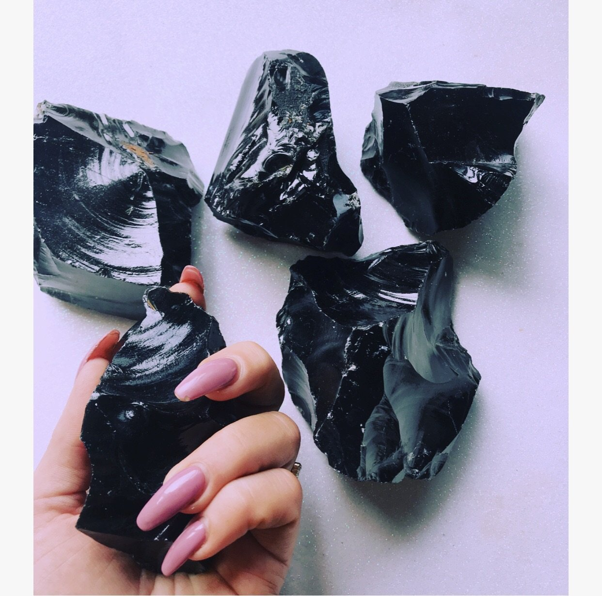 Raw black obsidian