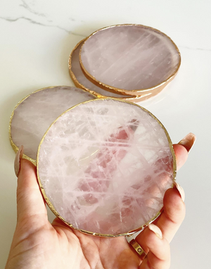 Load image into Gallery viewer, Rose Quartz Coasters
