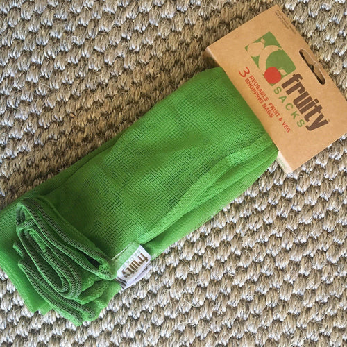BE Designs Reusable bags Fruity Sacks Reusable Fruit Vegetable Herb Shop Bags 3 Pk Green Mesh Drawstring