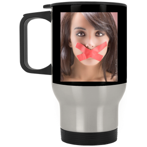 #meToo protest, Black/Silver Stainless Travel Mug; Disrespect deserves no silence