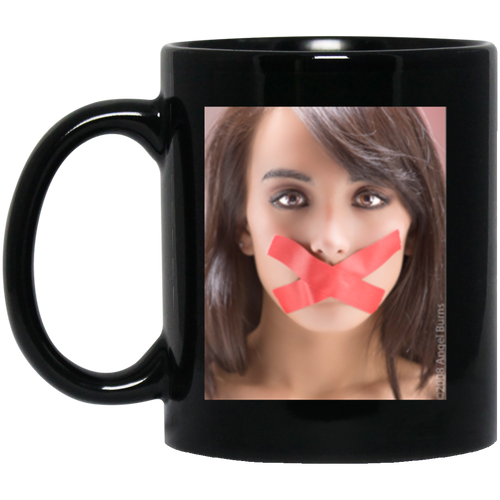 #meToo protest, 11 oz. Black Mug: Disrespect deserves no silence