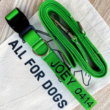 green dog collar, green embroidered dog collar